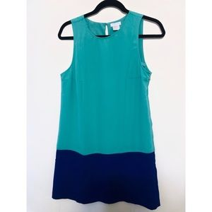 Dresses & Skirts - Teal + Navy Color-block Shift Dress (M) - Worn x2